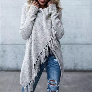 Sweaters - RESTOCKED! Grey Poncho Cardigan w/ Fringe Tassel